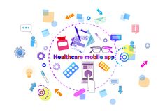 Healthcare Mobile App Banner Online Medical Help Therapy, Medicine Treatment Concept. Vector Illustration Royalty Free Stock Image