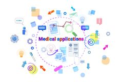 Healthcare Mobile App Banner Online Medical Therapy Applications, Medicine Treatment Concept. Vector Illustration Stock Photos
