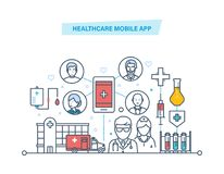 Healthcare mobile app. Mobile service. Medical healthcare, medicine mobile consultant. Healthcare mobile app. Mobile service. Medical healthcare, mobile stock illustration