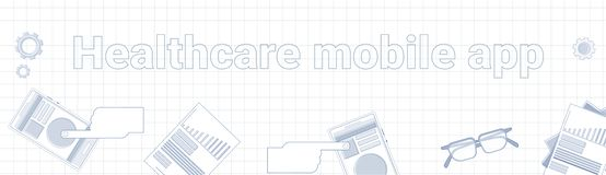 Healthcare Mobile App Word On Squared Background Horizontal Banner Online Medical Treatment Concept. Vector Illustration Stock Photo