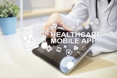 Healthcare mobile apps. Modern medical technology on virtual screen.