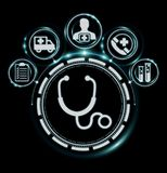 Healthcare modern interface 3D rendering. Healthcare modern interface on black background 3D rendering Royalty Free Stock Photography