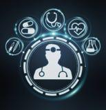Healthcare modern interface 3D rendering. Healthcare modern interface on blue background 3D rendering Stock Photos