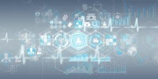 Healthcare modern interface 3D rendering. Healthcare modern interface on grey background 3D rendering Stock Photos