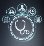 Healthcare modern interface 3D rendering. Healthcare modern interface on grey background 3D rendering Stock Photo