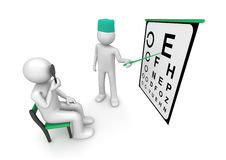 Healthcare - Oculist examining patient's sight Stock Photography