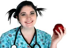Healthcare person with apple Stock Photos