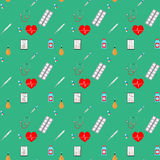 Healthcare and pharmaceutical seamless pattern Stock Photos