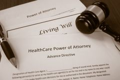 Healthcare Power of Attorney. Living Will documents with legal gavel Royalty Free Stock Image