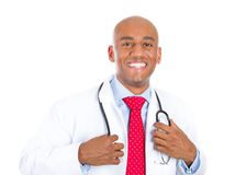 Healthcare professional with confidence, hands on stethoscope Royalty Free Stock Photos