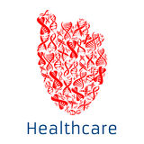Healthcare red heart symbol of vector DNA helix Stock Photos