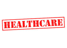 HEALTHCARE. Red Rubber Stamp over a white background Stock Images