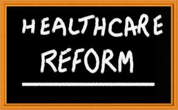 Healthcare reform. On chalk board Royalty Free Stock Photo