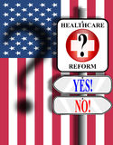 Healthcare Reform USA sign and flag. Illustration of a medical symbol nailed to a pole above two arrow signs stating yes and no and pointing in opposite Stock Photography