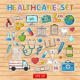 Healthcare set. Healthcare doodle set.Sticker.Withthermometer stethoscope tablet capsule apple ambulance syringe tooth medical card Hospital Medical plaster Stock Photography