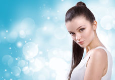 Healthcare, skincare, spa and beauty concept - young beautiful w Royalty Free Stock Photo