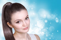 Healthcare, skincare, spa and beauty concept - young woman Royalty Free Stock Images