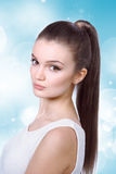 Healthcare, skincare, spa and beauty concept - young woman Stock Images
