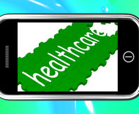 Healthcare On Smartphone Shows Medical Care Stock Photography