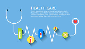 Healthcare, Stethoscope, Cardiogram, Health Monitoring, Concepts Set. Modern Flat Design Concepts For Web Banners, Web Stock Images