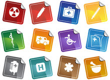 Healthcare Sticker. Set of 12 Healthcare Icons - Sticker Style Stock Images