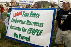 Healthcare supporters rally in Los Angeles Stock Image