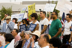 Healthcare supporters rally in Los Angeles Stock Images