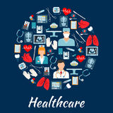 Healthcare and surgery icons in a circle shape Royalty Free Stock Photo