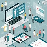 Healthcare and technology. Healthcare and innovative technology: apps for medical exams and online consultation concept Royalty Free Stock Photos
