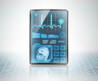 Healthcare technology. Vertical modern medical tablet on futuristic background Stock Photos