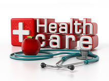 Healthcare text, stethoscope and red apple. 3D illustration Stock Photography