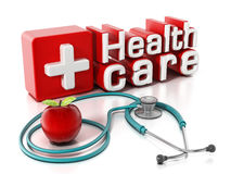 Healthcare text, stethoscope and red apple. 3D illustration Stock Photos