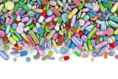 Healthcare themed pile of colorful pills stock image