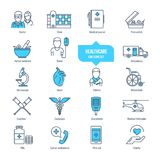 Healthcare thin line icons, pictogram and symbol set. Ambulance, pharmacology. Healthcare thin line icons, pictogram set. Icons for medical services, ambulance Royalty Free Stock Photos