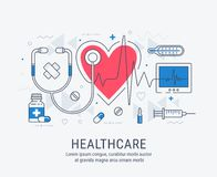 Healthcare thin line illustration Royalty Free Stock Images