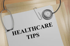 Healthcare Tips concept. Render illustration of Healthcare Tips title on medical documents Royalty Free Stock Image