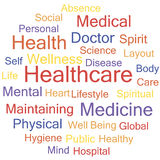 Healthcare. Word Cloud with Healthcare related tags, vector Royalty Free Stock Photos