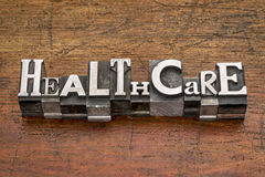 Healthcare word in metal type Royalty Free Stock Photos