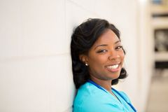 Healthcare worker. Doctor or nurse standing outside the hospital. Royalty Free Stock Photos