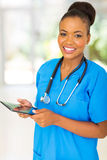 Healthcare worker tablet computer Stock Photo