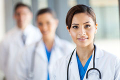 Healthcare workers portrait. Beautiful healthcare workers portrait in hospital Stock Photography