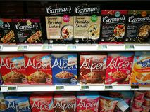 Healthfoods cereals and museli selection in gourmet supermarket Stock Images