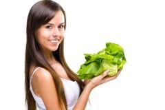Healthful eating-Beautiful fit woman holding a salad imagens de stock