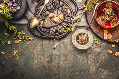 Healthful herbs tea setting on rustic background, top view. Border royalty free stock images