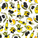 Healthful olive oil seamless pattern. Seamless healthful olive oil pattern of olive tree leafy twigs with black fruits and oil drops, glass bottles with natural Stock Photography