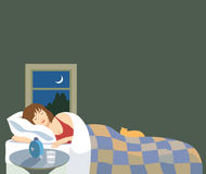 Healthful Sleep. Vector illustration of a woman peacefully sleeping. There is a cat on the bed, nightstand and window with night sky and crescent moon Stock Photo