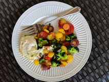 Healthier Breakfast Option. Plate of colorful, healthy vegetables and egg Royalty Free Stock Photography