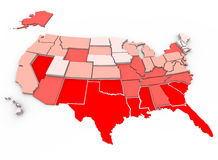 Healthiest vs Unhealthiest - United States Map. Red = unhealthiest states, White = healthiest states, based on 21 health factors measured in 2005. Health Care Royalty Free Stock Image