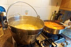 Home Cooking of a Lentil Casserole and Soup stock photo