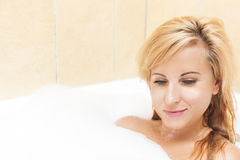 Healthlife and Wellness Concepts and Ideas. Attractive Caucasian Female Enjoying Bath Stock Image